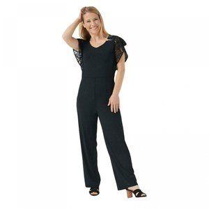 NWT Lace Sleeves Knit Jumpsuit Petite Medium Black